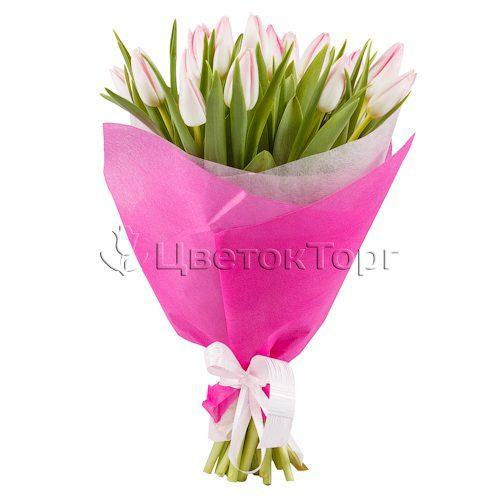 Букет из 21 Розовых Тюльпанов