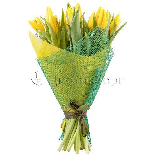 Букет из 21 Желтых Тюльпанов