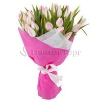 Букет из 33 Розовых Тюльпанов