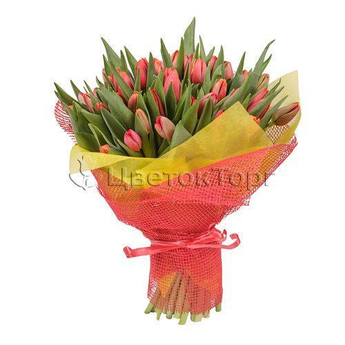 Букет из 51 красных тюльпанов